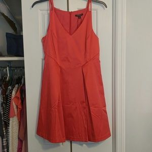 Red satin party dress